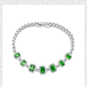 Jewelry - 14kt. White gold plated emerald bracelet